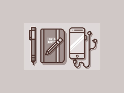 Tools for today icon illustration iphone phone notes field pencil pen