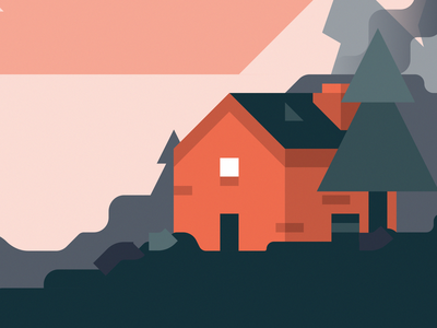 Gulf Islands Illustration, WIP landscape illustration trees canada britishcolumbia woods landscapes environment landscape mountains mountain illustration tree geometric bc british columbia gulf islands gulf cabin house wip
