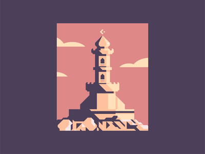 Desert Tower warm castle illustration geometric illustration sunset fantasy illustration sky desert tall mountain fortress walls castle fantasy clouds high contrast geometric architecture building tower illustration