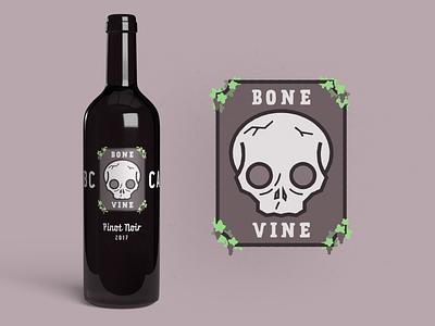 Bone Vine Red Wine label design mockup alchohol branding alchohol bottle pinot noir red wine grapevine bone skull packaging label illustration emblem logo branding wine bottle wine label winery wine