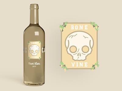 Bone Vine White Wine wine winery wine label wine bottle alcohol branding logo emblem illustration label packaging skull bone grapevine white wine pinot blanc bottle alchohol alchohol branding mockup label design