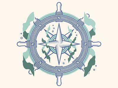 Lost at Sea wheel sunk sinking navigation foliage boat kelp compass rose compass naval maritime ship ships wheel