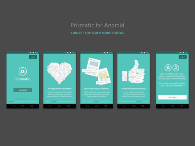 Learn More Screens prismatic app android onboarding learn more walk-through flat whitney ui user onboarding user education