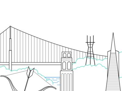 San Francisco Landmarks bay area karl the fog golden gate bridge san francisco coit tower cupids span sutro tower