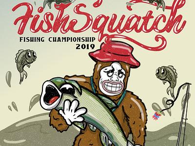 FishSquatch Fishing Champ 2019, Jessica Goldsmith half tones lettering sasquatch graphic design poster design illustration