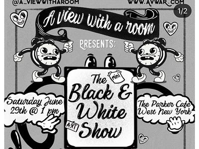 Old school flier design marketing flier design old school halftones wonderland black and white illustration vintage