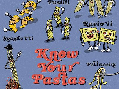Know your pastas! lettering typography bookman font vintage illustration vintage cartoon old school cartoon graphic design flier design food marketing spaghetti pasta illustrations illustrated illustration
