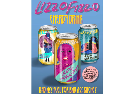 Lizzo fizzo energy drink brand development branding beverage design colorful design mock up pop culture lizzo typography illustration can design soda can product design feminist feminism