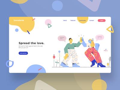 Concept UI design for Lovestorm vector minimal website flat web design illustration user interface uiux graphic designer graphic design graphicdesign ui designer ui design web designer web design webdesign uidesign ui