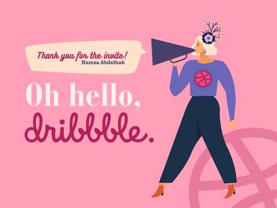 Oh hello, Dribbble! vector illustration graphic designer graphic design graphicdesign design