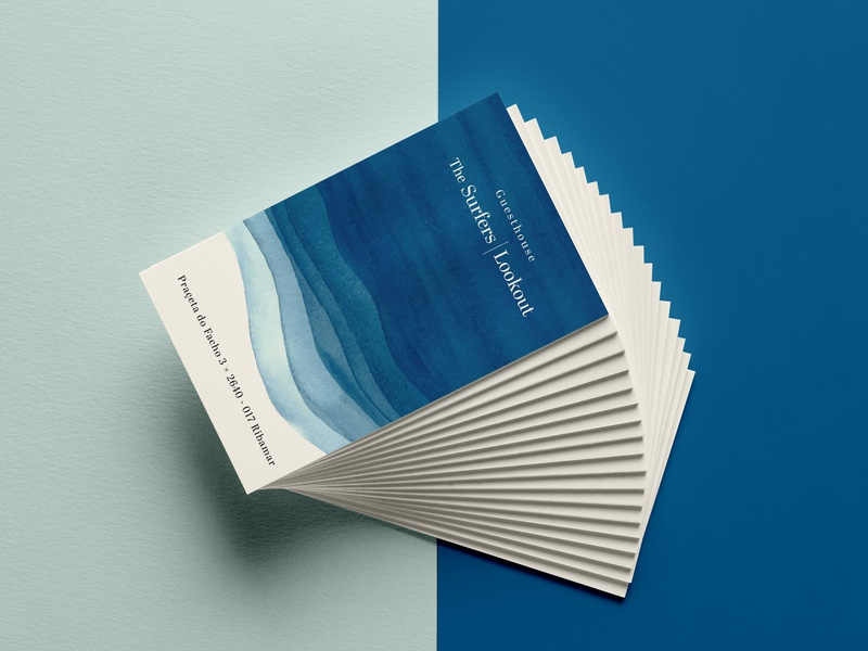 Beachy Business Card Design aquarell layers clean design clean minimal sea blue guesthouse surfer ocean logodesign stationary design stationary typography branding vector graphic designer graphic design graphicdesign design