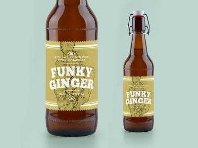 Funky Ginger Beer Label vector typography ginger beer branding labels label design labeldesign beer bottle beer label brewery label illustration branding graphic designer graphic design graphicdesign design
