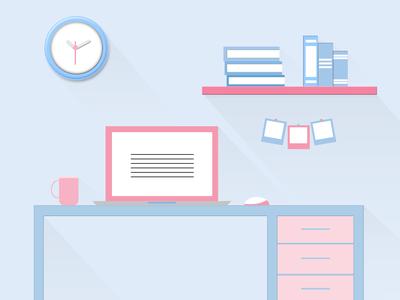 Flat design study table