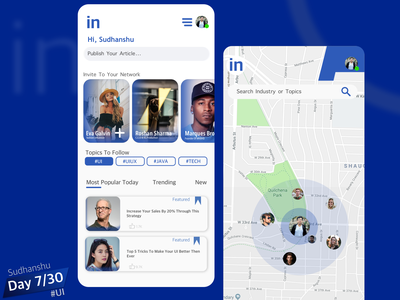 Linked In Redesign Day 7/30 branding app design app minimal uiux ui ux design