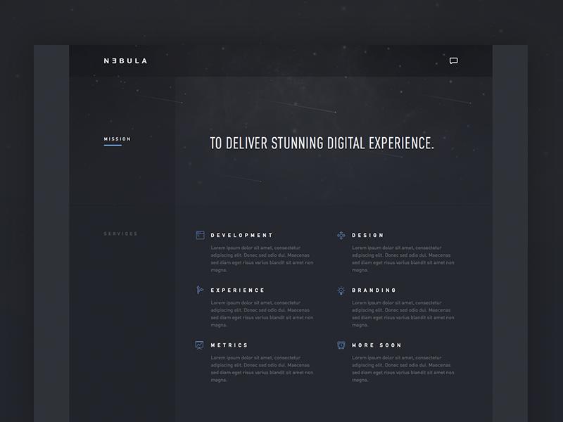 Nebula landing page preview web design ui agency user interface din dark