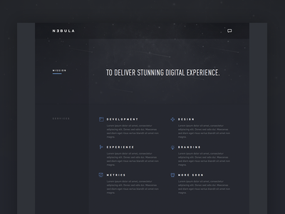 Nebula landing page preview web design ui agency user interface din dark