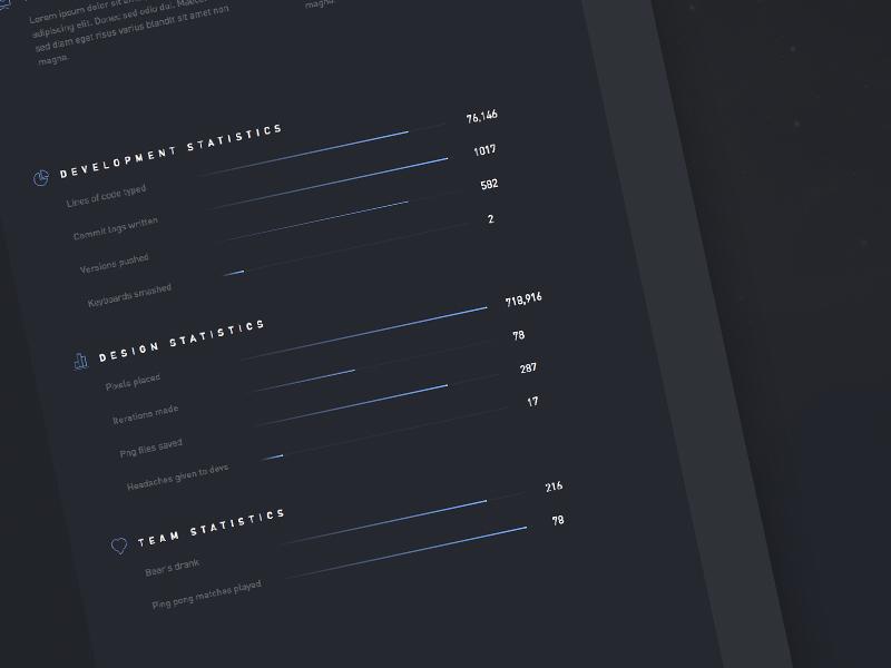 Nebula statistics section bar concept ui user interface web design dark agency din