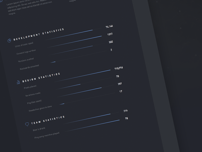 Nebula statistics section bar concept ui user interface web design dark agency din