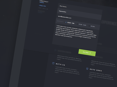 Nebula contact concept user interface web design ui din dark form background blur