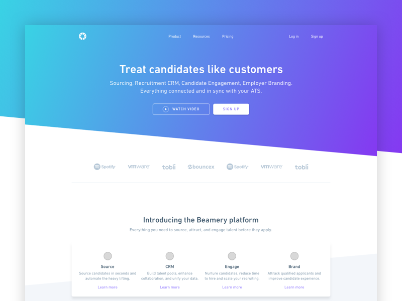 Concept refresh for Beamery landing page beamery gradient brand page landing web