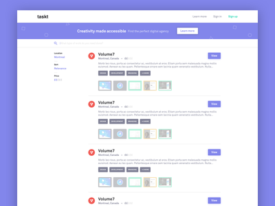 Side Project Preview filter purple ui design web page landing agency search