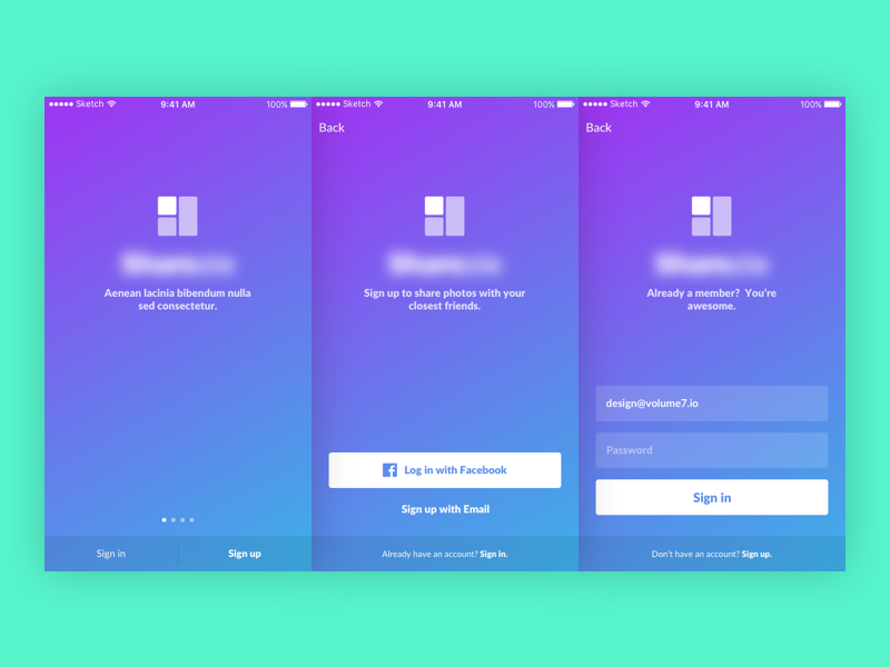 Sign in / Sign up gradients purple blue gradient ios mobile
