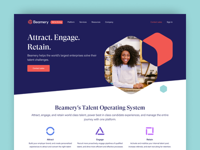 Beamery website refresh landing page rebrand web design