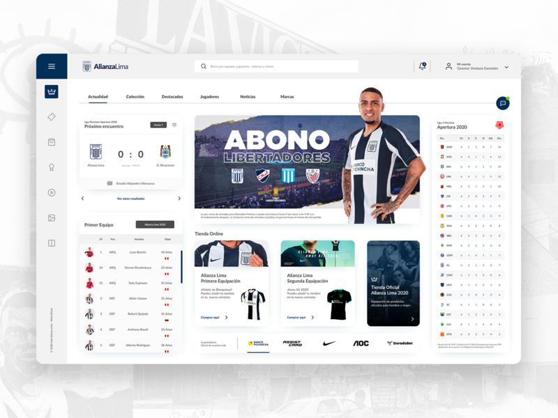 Dashboard Alianza Lima ux bet nike statistics sketch team user interface branding web website ui landingpage soccer futball club sport dashboard platform
