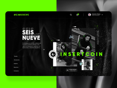 Seis Nueve Store photography onepage userinterface level next streetwear street urban coin insert game e commerce illustraion tipography illustration website designer design ux ui