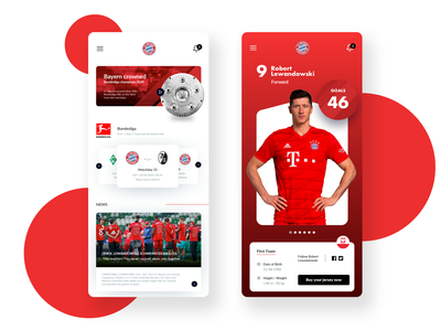 Bayer Munich mobile app ui dashboard player experience score app champions redesign trainer soccer bundesliga jersey buy team goals forward futball news minimal bayer