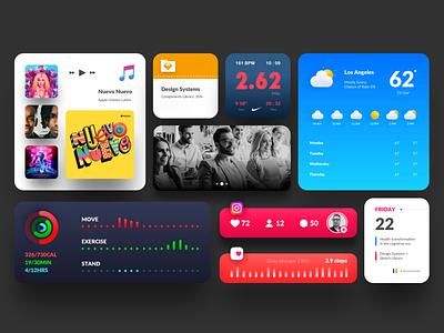 iOS 14 Widgets for iPhone app followers follow heart aplication music picture itunes sketch design system nike weather instagram calendar apple iphone ios widgets ios14 interaction
