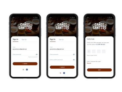 Sign In / Sign Up Caños del Santero interface santero verify flat ux clean beer can craft beer mobile app ui sign up sign cerveza craftbeer beer