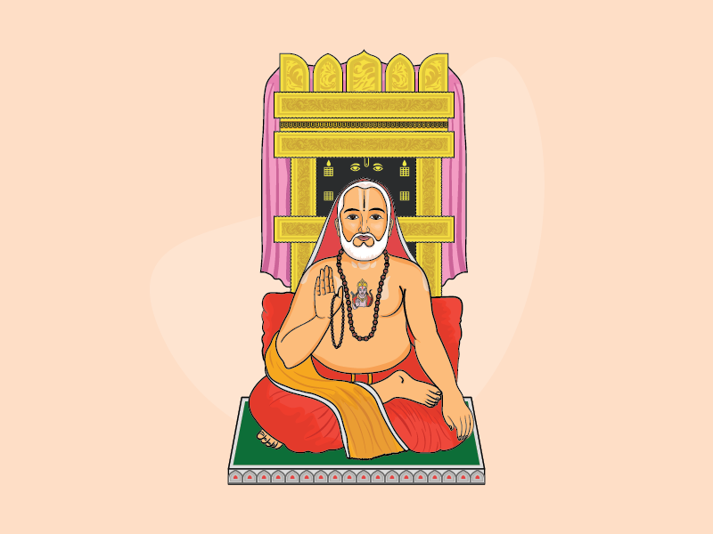 Shri Raghavendra Swami illustrator vector faith