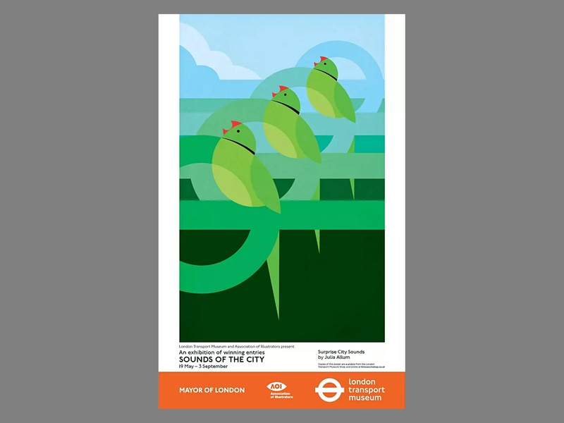 Sounds of the City birds bird advertising poster design illustrator vector illustration illustration poster london underground parakeets