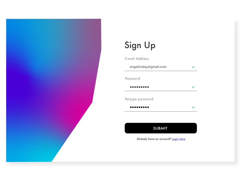 Daily UI 001 - Sign Up signup simple design typography graphic dailyuichallenge ux ui dailyui