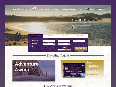 Air Grandeur Home Page website ui ux airline airplane royal