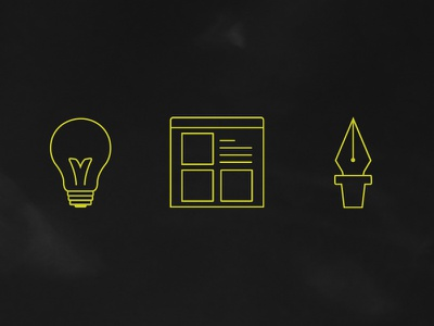 personal icons lightbulb wireframe pen icons