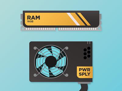 computer components illustration gradients memory fan computer
