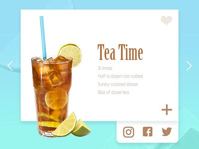 #010 Social Share cards drink food recipe share social ui dailyui daily tea app 010