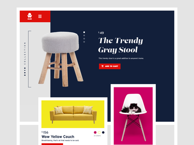 Chair Club furniture ecommerce grid typography flat website ux ui