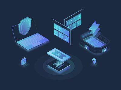 Footies Technology vector web illustration design