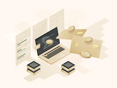 Cryptocurrency Blockchain Technology vector illustration design web