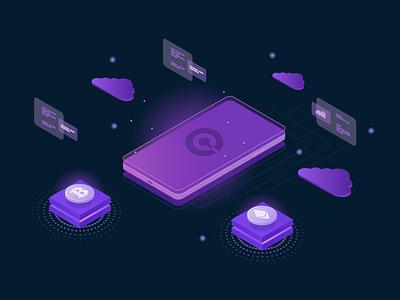 Cryptocurrency platform illustration vector web