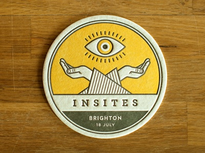Insites Coaster letterpress eyeball yellow uk design mystic verlag archer gotham