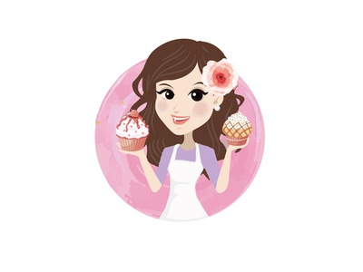 woman with lady cupcakes