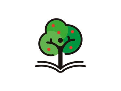 book + human + tree green logo green logo design logotype education idea tree book human concept vector graphic design icon logo branding