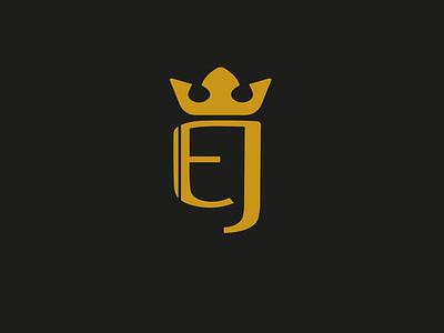 EJ crown adobe logoart designs flat vector minimal illustration branding logo design