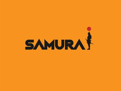 Samurai illustrator flat minimal vector branding logo design