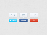 Social Buttons - Free PSD icon buttons ui blue red fans like share social google twitter