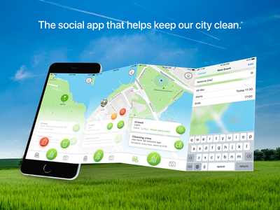 Social app for a cleaner city.* mark density crowd dirty cleaning crew city park clean social app